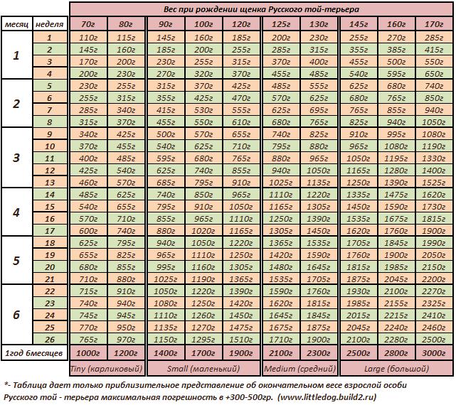 Таблица веса собак породы чихуахуа по неделям в граммах